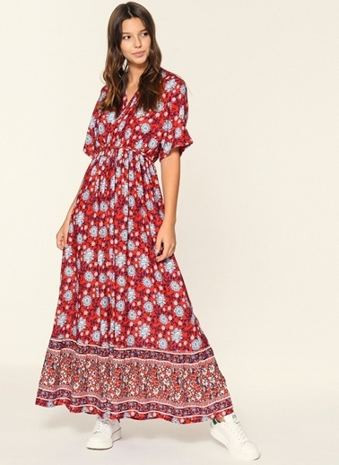 Loves You Emprime Beli Lastikli Elbise Kırmızı